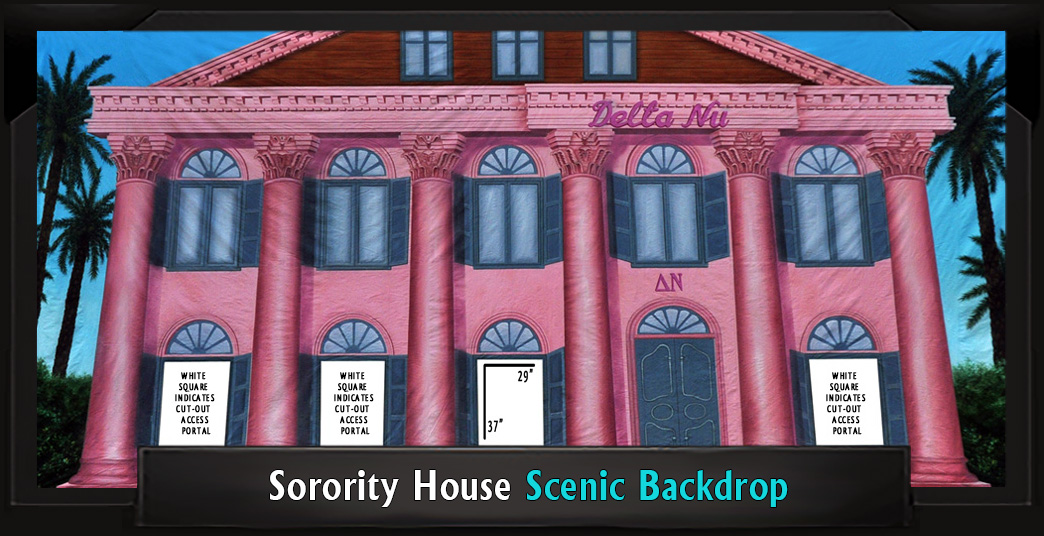 Legally Blonde SORORITY HOUSE Professional Scenic Backdrop with Frame