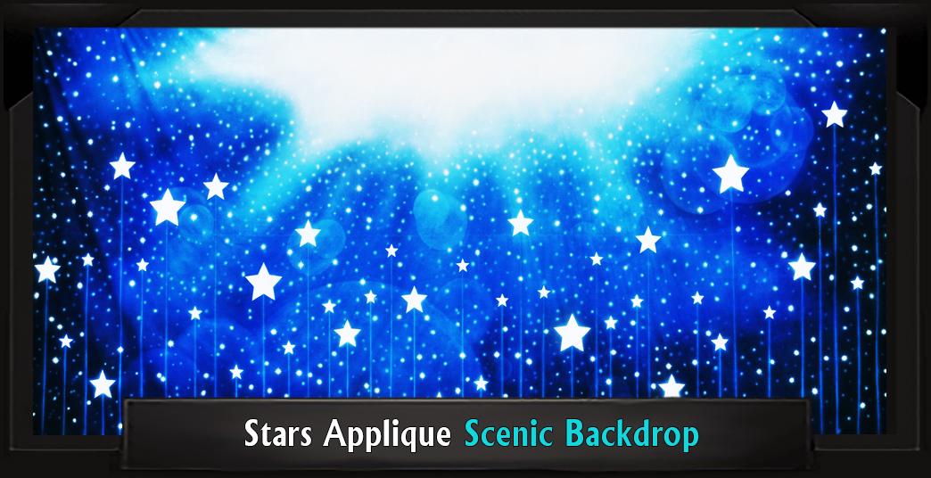 STARS APPLIQUE Professional Scenic Elf Musical Backdrop