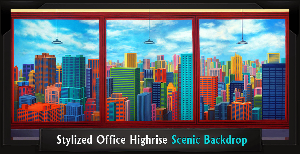 STYLIZED OFFICE HIGHRISE Professional Scenic Elf Backdrop
