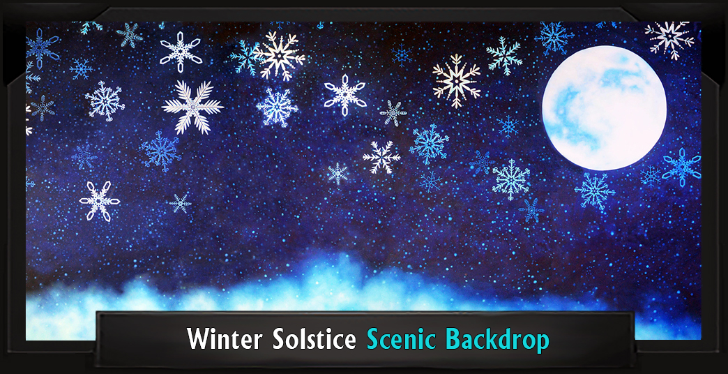 WINTER SOLSTICE Professional Scenic Elf Musical Backdrop with Frame