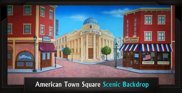 American Town Square Scenic Backdrop