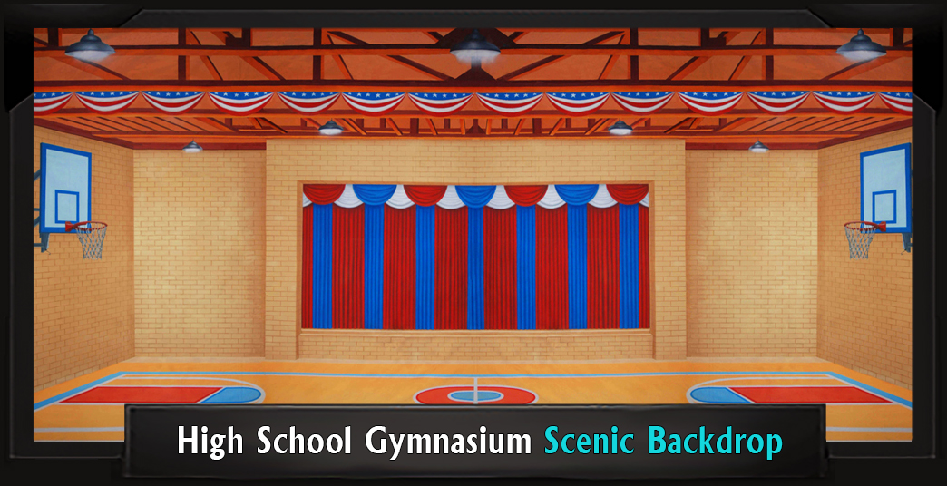 High School Gymnasium Professional Scenic Backdrop
