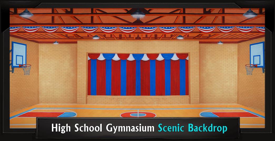 High School Gymnasium Professional Scenic Backdrop