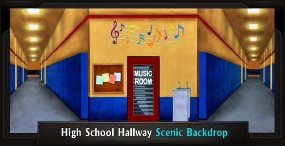 High School Hallway Professional Scenic Grease Backdrop