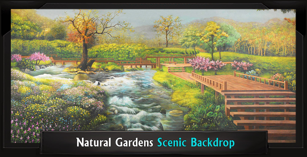 NATURAL GARDENS Professional Scenic High School Musical Backdrop