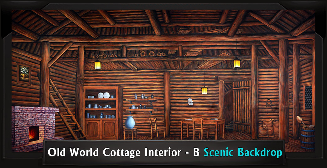 OLD WORLD COTTAGE INTERIOR - B Professional Scenic High School Musical Backdrop