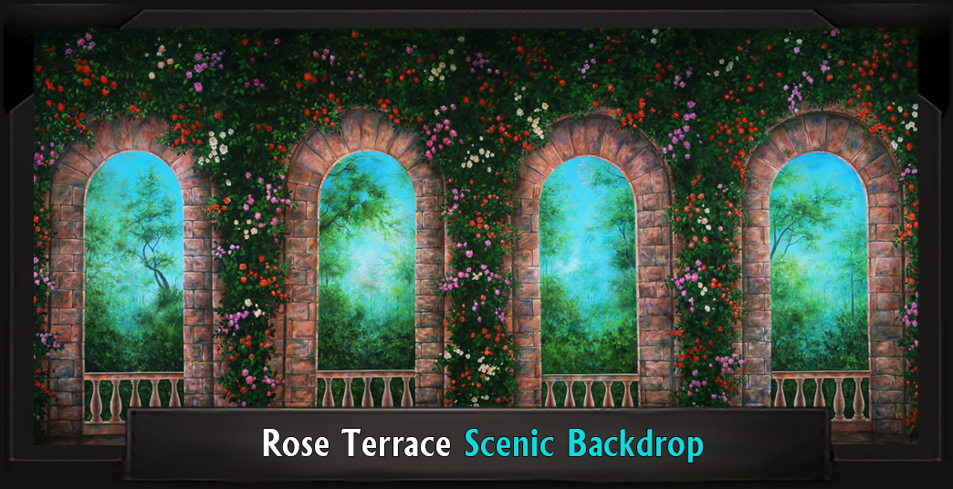 ROSE TERRACE Professional Scenic High School Musical Backdrop