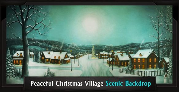 Peaceful Christmas Village Scenic Backdrop