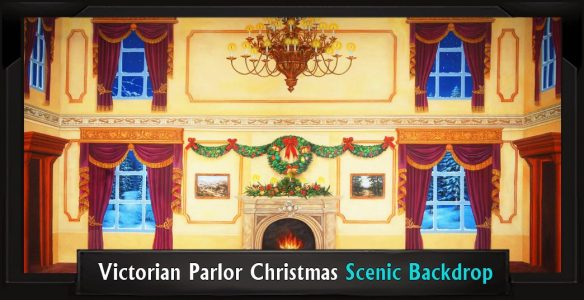 Victorian Parlor Christmas Professional Scenic Backdrop