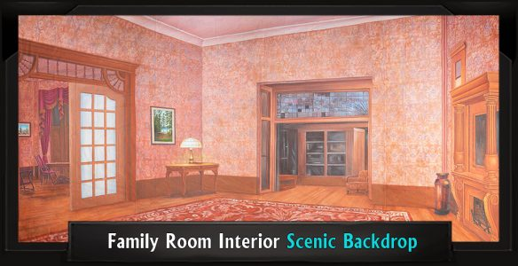 Scenic Music Man Backdrop Family Room Interior