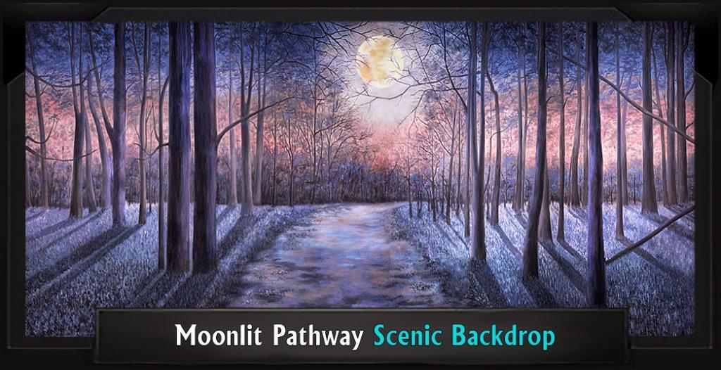 MOONLIT PATHWAY Professional Scenic Secret Garden Backdrop
