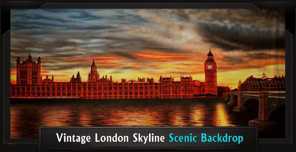 VINTAGE LONDON SKYLINE Professional Scenic Peter Pan Backdrop