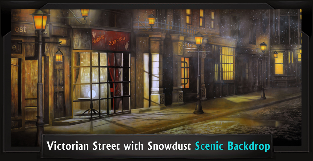 Victorian Street with Snowdust Professional Scenic Sweeney Todd Backdrop