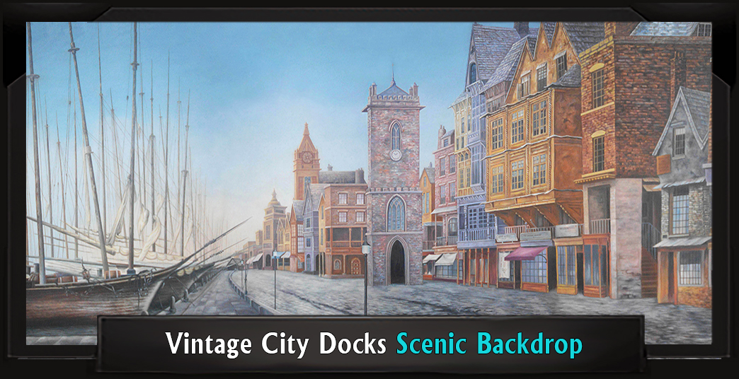 Vintage City Docks Professional Scenic Sweeney Todd Backdrop