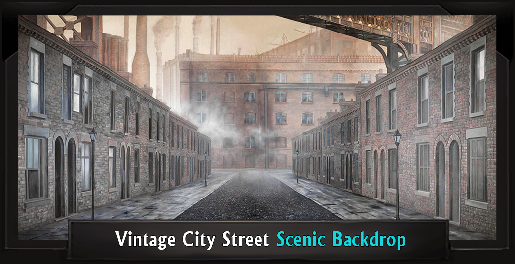Vintage City Street Professional Scenic Sweeney Todd Backdrop
