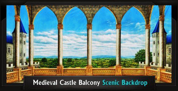 Medieval Castle Balcony Scenic Backdrop